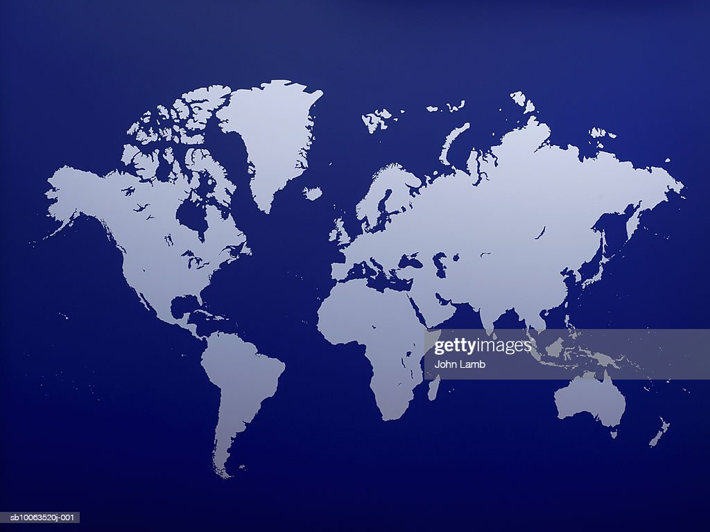 Blue colored world map : Stock Photo
