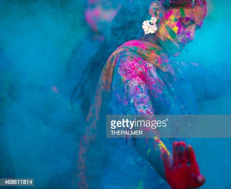 Blue colors during Holi in India