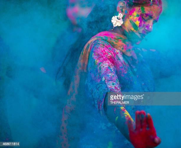 Couleurs Bleus lors de Holi en Inde