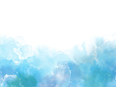 Blue colors Watercolor art border background with copy space fot your text