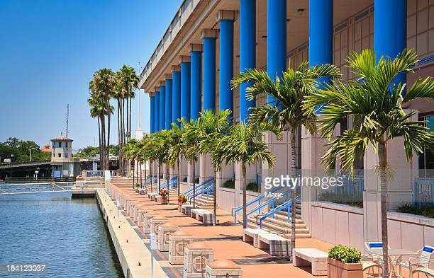 Blue columns and palms of Tampa Convention Center
