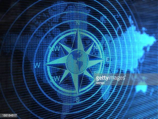 Blue compass with circles over blue world map
