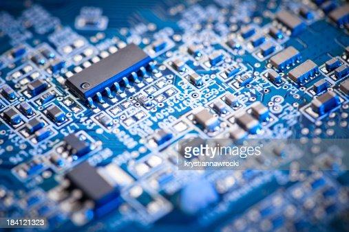 Placa de Circuito de computador azul conjunto de microchip Foco