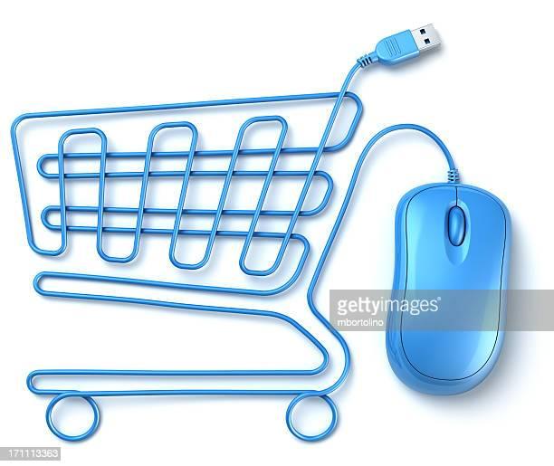 Azul ratón de ordenador cesta de compras