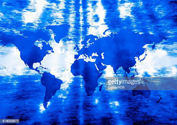 Blue Continents with Clouds