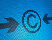 Blue Copyright on digital background