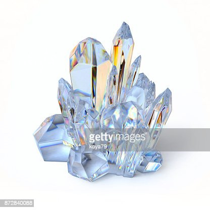 Blue crystal 3d rendering isolated illustration : Stock Photo