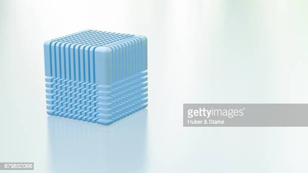 blue cube with network