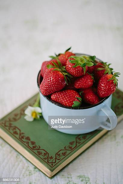 Blue cup of strawberries on book