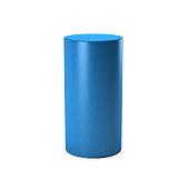 Blue Cylinder in white background. 3D rendering Illustration