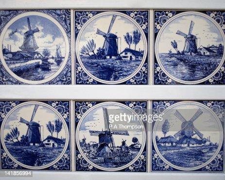Blue Delft pottery tiles, Netherlands