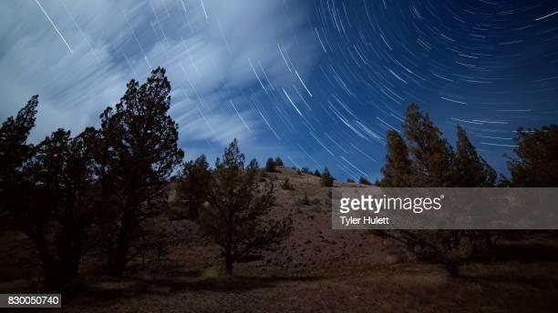 Blue Desert Hillside Night Sky Star Trails Over Oregon