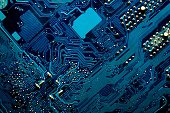 Blue digital circuits abstract background