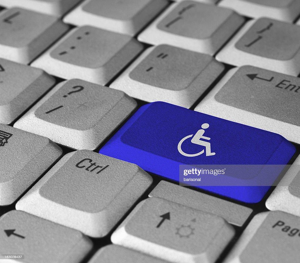 Bouton bleu personnes à mobilité réduite : Photo