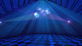 Blue disco background with shining mirror balls, stars and light rays