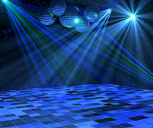 Blue disco dance floor with mirror balls, lattice framework and spot lights. 3d render.