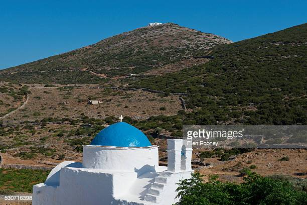 A blue dome church on the island of Sifnos; Sifnos, Cyclades, Greek Islands, Greece