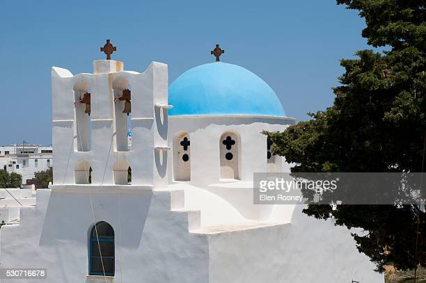 A blue domed church; Pano Petali, Sifnos, Cyclades, Greek Islands, Greece