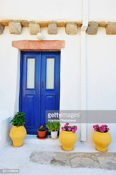 Blue door on white building in Platano on Leros