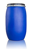 Blue drum being use in chemical and oil industrial,Isolate on white with clippina path.