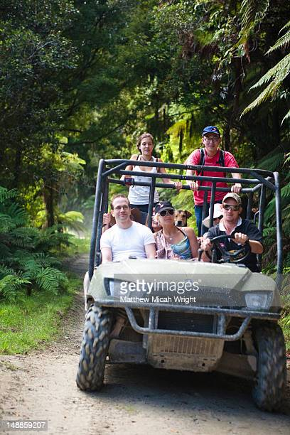 Blue Duck lodge is a working farm located in Whakahoro, in the Whanganui National park. Travelers explore the grounds on a buggy tour