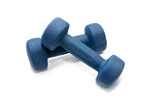 blue dumbbells for sports on a white background