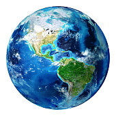 3d rendering, America - Usa. Photorealistic globe with lots of details.
