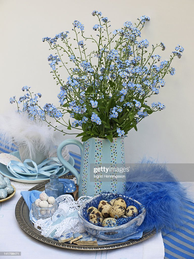 Blue easter table decorations stock photo getty images