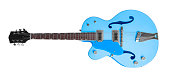 blue electric guitar in white back