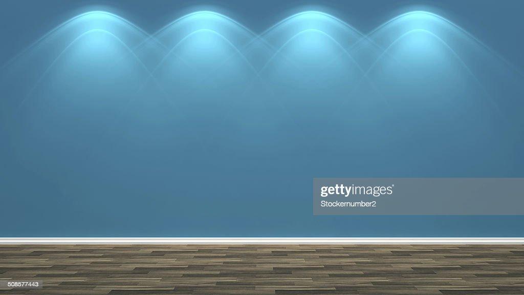 blue empty interior and lamp : Stock Photo