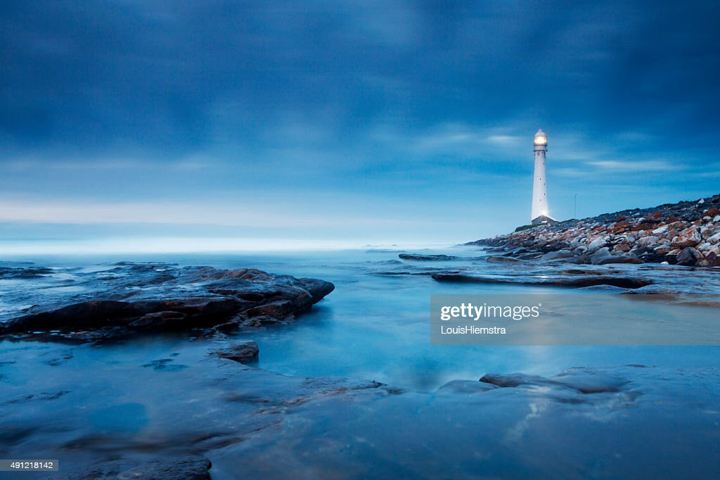 Blue Evening Lighthouse Landscape : Stock Photo
