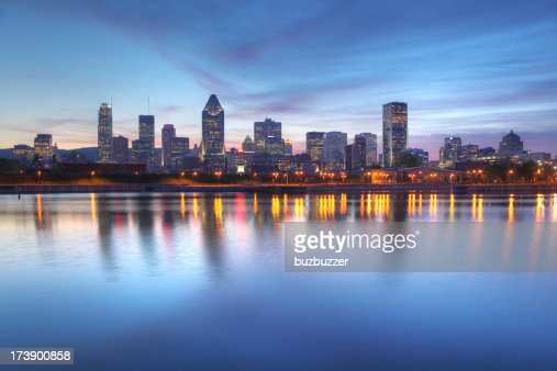 Blue Evening Sky over Montreal Cityscape : Stock Photo