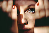Blue eye of beautiful woman.