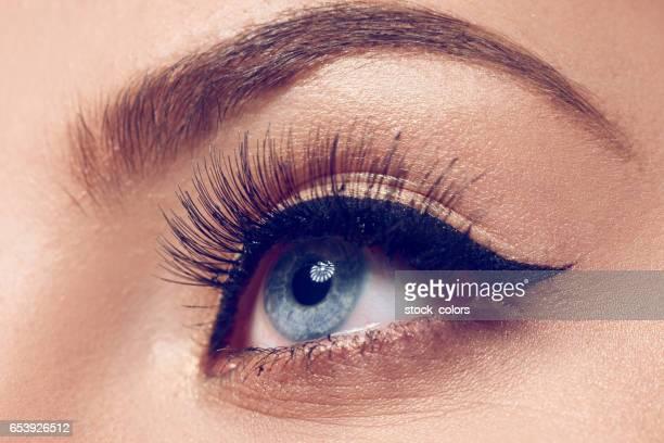 blue eye with makeup, macro shot