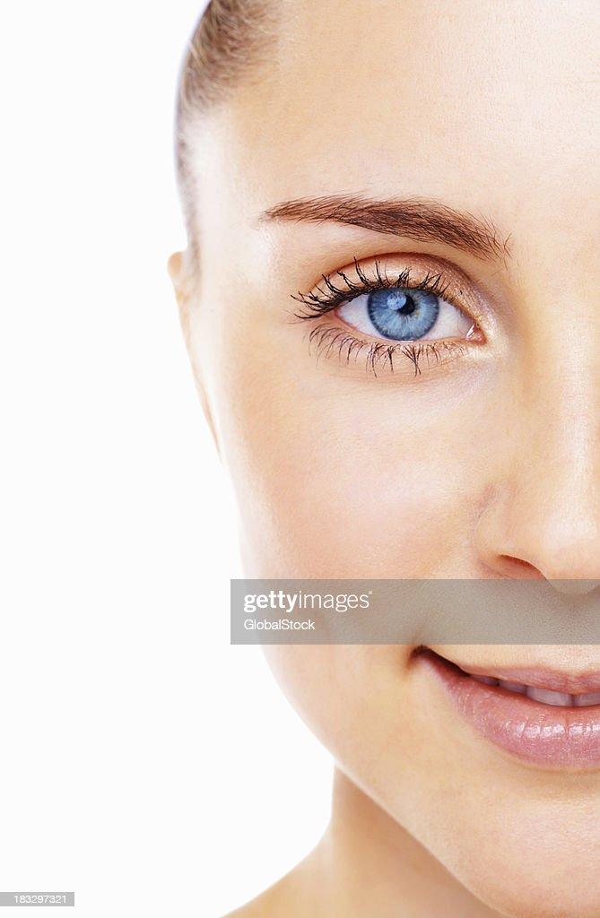 Blue eyed female smiling