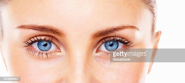 Blue eyed woman looking at you