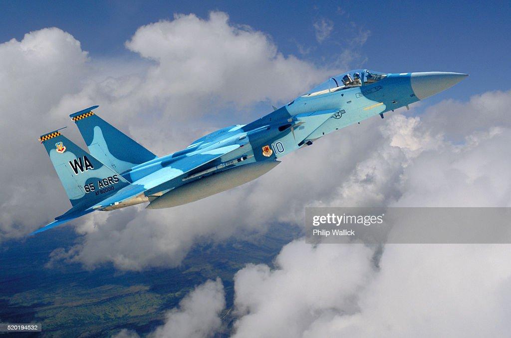 Blue F-15 Eagle in Flight