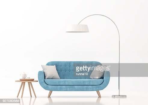 Blue fabric sofa on white background 3d rendering image : Stock Photo