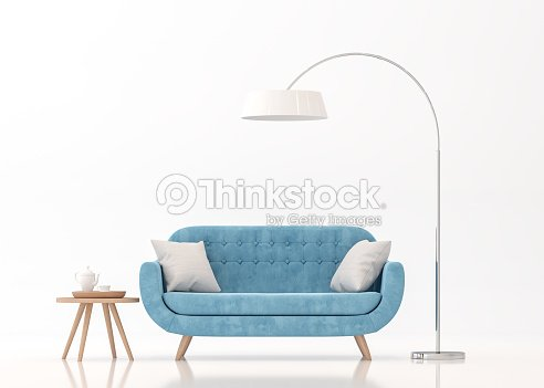 Blue fabric sofa on white background 3d rendering image : Foto de stock
