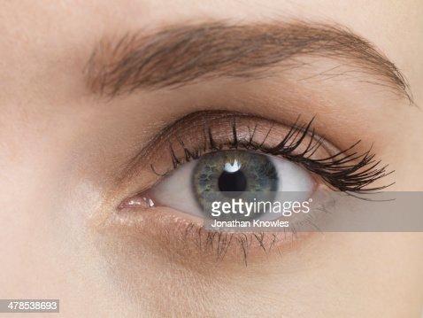 Blue female eye, close up