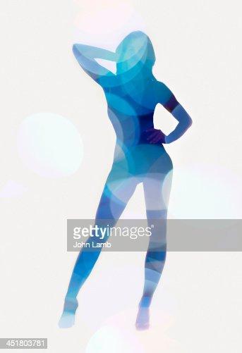Blue female silhouette : Stock Photo