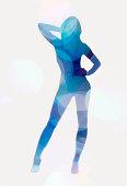 Blue female silhouette