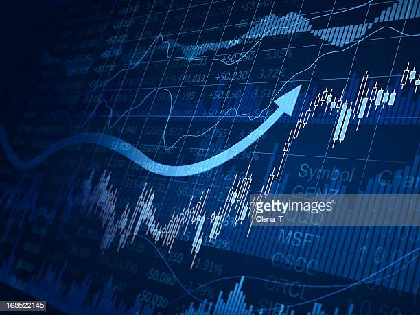 A blue financial chart with arrows pointing up