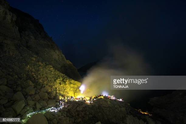 Blue flame at Kawah Ijen Crater, East Java, Indonesia