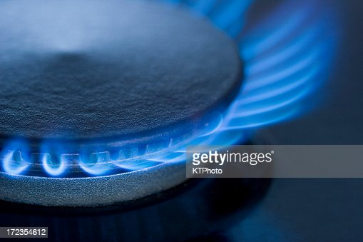 Blue Flames from a gas burner series 3