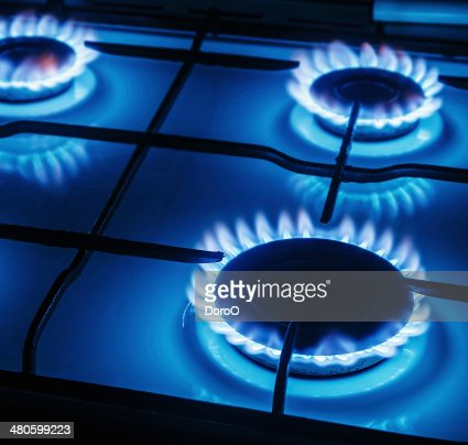 Blue flames of gas burning : Stock Photo