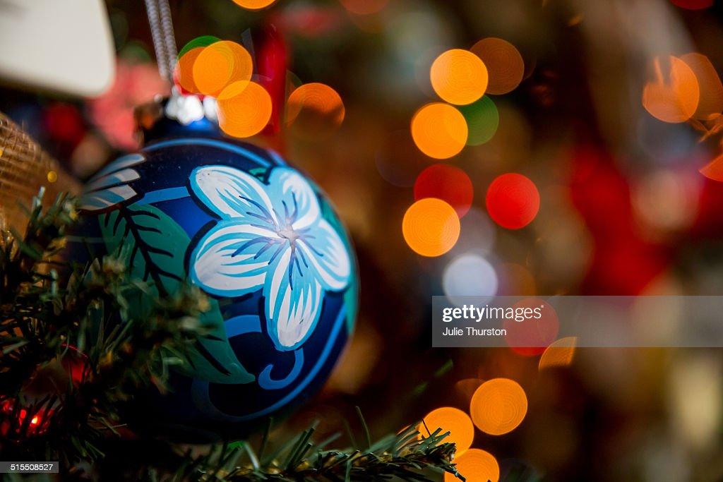 blue flower christmas tree ornament lights stock photo - Flower Christmas Lights