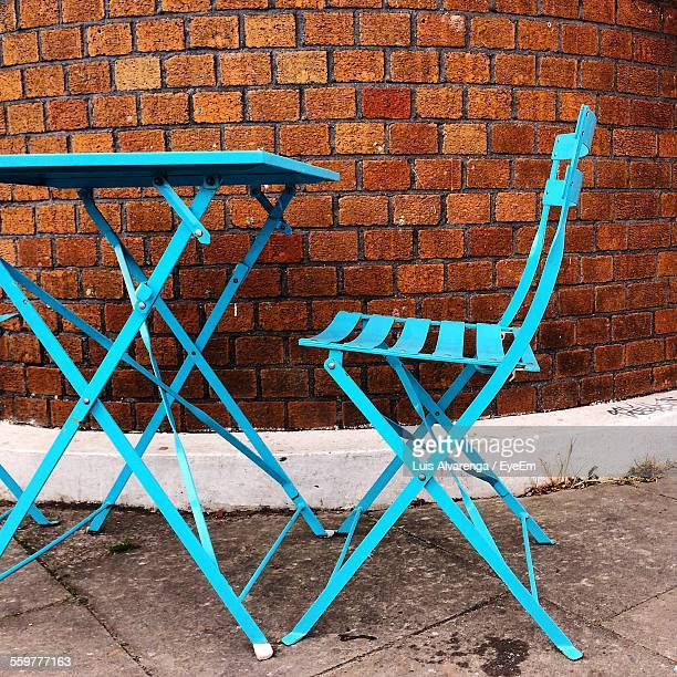 Blue Folding Table And Chair