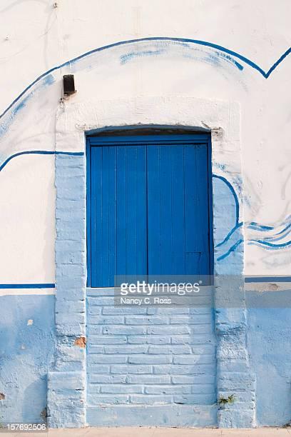 Blue Front Door, Mexico, Vertical, Vivid