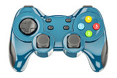 Blue game controller, 3D rendering isolated on white background